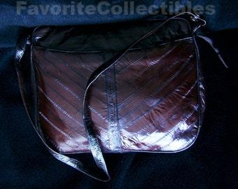 Oxblood Eelskin Crossbody Shoulder Bag 4 Compartment 2 Pockets 80s Eelskin Leather Roomy Purse Handbag Detachable Strap FavoriteCollectibles