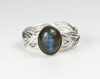 Handmade Sterling Silver Twisted Six Strand Woven Ring with Oval Labradorite Cabochon Gemstone