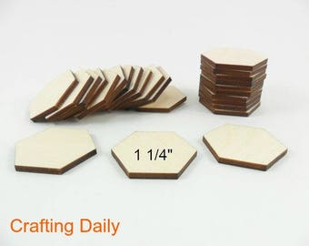 """Wood Hexagons Laser Cut Wood Tiles 1 1/4"""" (31.75mm) Side to Side - 25 Pieces"""