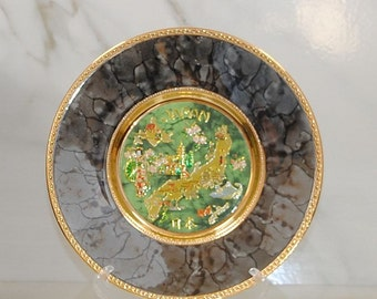 "Vintage Japanese Art of Chokin Plate, 24K gold, Island of Japan in Gold Gilt, Green and Grey, Collector's Plate, Souvenir Plate, 8"" Plate"