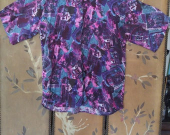 80s purple and blue crazy patterned rayon shirt by Shah Safari