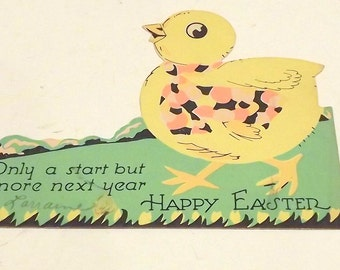 Chicken Vintage Happy Easter Chick Card
