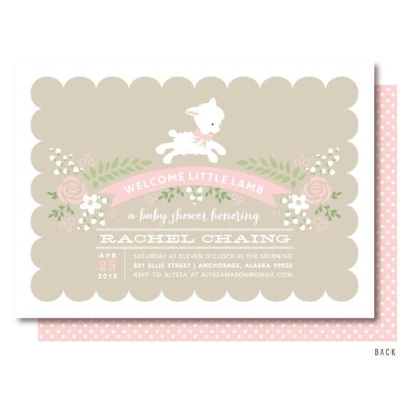 Lamb baby shower invitations pink little lamb invitation filmwisefo