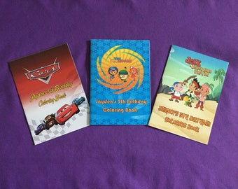 12 Personalized Coloring Books, Party Favors - Team Umizoomi, Disney Cars, Jake and the Neverland Pirates,