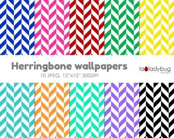Herringbone digital paper, herringbone wallpaper, herringbonebackground. 10 bright colors, JPEG files.  Instant download.