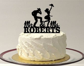 MADE In USA, CowBoy and CowGirl Personalized Wedding Cake Topper, Country and Western Wedding Cake Topper, Country Wedding Cake Topper