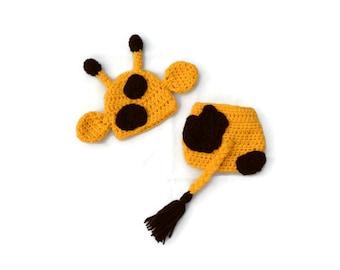 Crochet Baby Giraffe Hat, Baby Photo Prop, Crochet Baby Hat, Baby Animal Hat and Diaper Cover Set