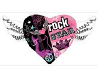 "Rocker Girl Heart with Wings Balloon 33"" Super Shape Jumbo Rock Star Rock Music Party Rock and Roll"
