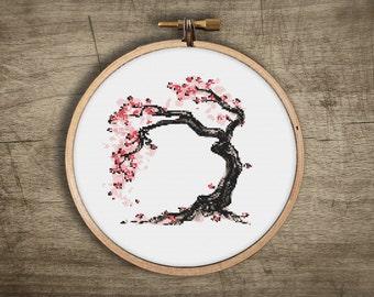 bonsai cross stitch pattern ++ modenr asian cherry blossom tree ++ pdf INsTAnT DOwNLoAD ++ japanese embroidery ++ handmade design