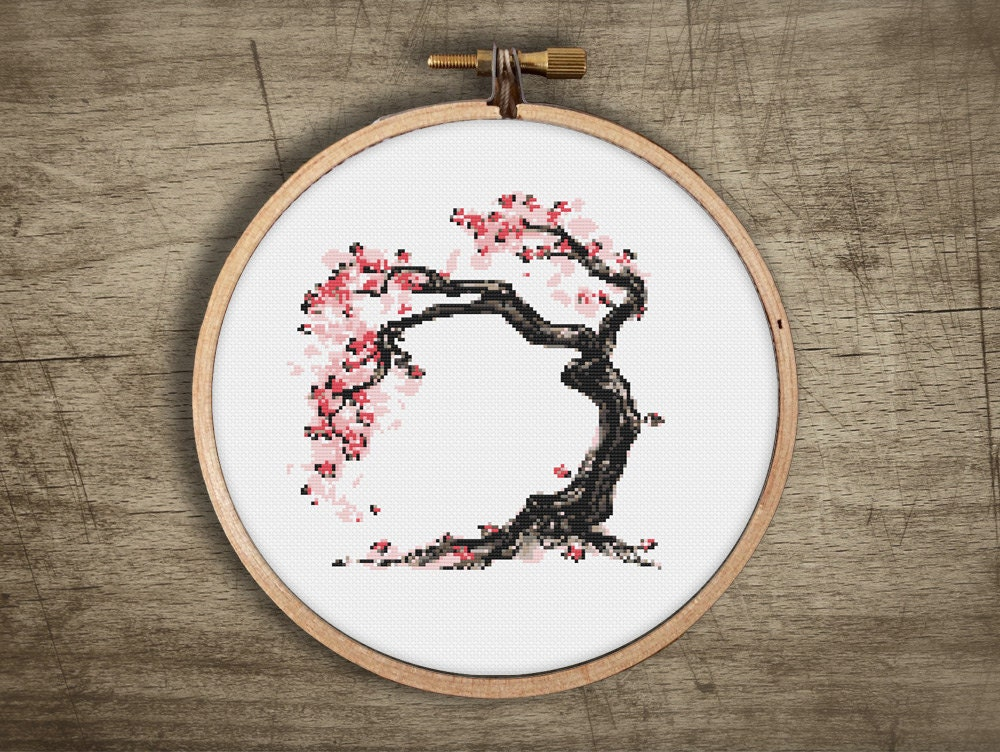 Bonsai Cross Stitch Pattern Modenr Asian Cherry Blossom