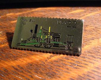John Bull Lapel Pin - Vintage 1987 USA Locomotive Postage Stamp Collectible Pin