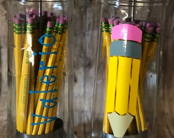 Personalized Glass Pencil Dispenser - Teacher Gift