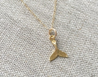 Gold Filled Whale Tail or Dolphin Tail Necklace. Layering Necklace, Whale, Dolphin, Ocean