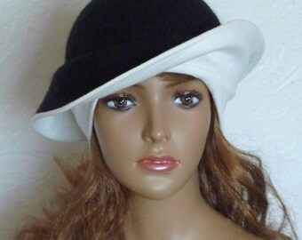 Black hat, Black and white, Felt hats, Women's hats, Wool hat, Warm hat, winter hat, Autumn hat, White hat, Elegant hat Clothes made of felt