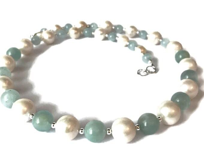 Aquamarine & Freshwater Pearl Necklace