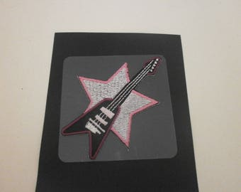 fusible applique and sticker guitar
