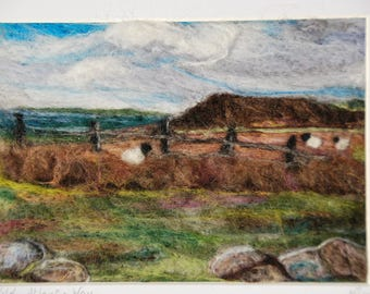 Merino wool needle felted landscape picture of The Wild Atlantic Way Ireland