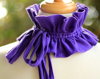 Victorian Style Fashion Collar - Ruffled Choker in Purple Cotton Gauze - Lots of Colors