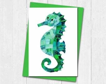 Seahorse greeting card, Custom colours, Seahorse birthday card, Blank card, Nautical seahorse print card, Sea ceature card, Cute blank cards