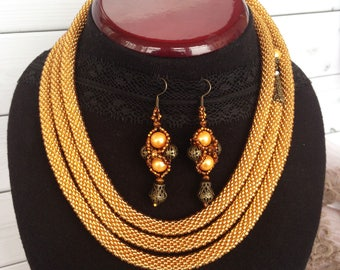 Gold necklace Long Beaded Crochet Rope Necklace Lariat Transformer Necklace Statement Beadwork  necklace Gift for woman Gift for her