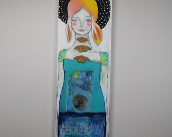 """Butterfly Clan Maven - an Original 12"""" x 36"""" Painting by Carissa Paige"""