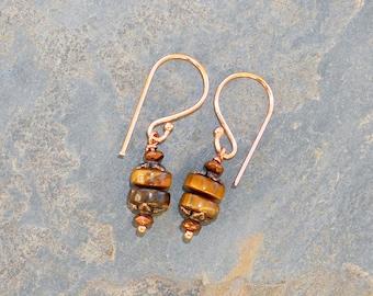 Tiger Eye Earrings, Copper Earrings, Bohemian Earrings, Natural Stone Earrings, Summer Earrings, Brown Earrings, Tiger Eye Jewelry, For Her