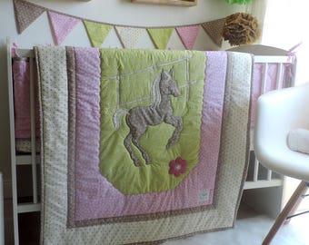 Crib Bedding Set Girl - Pink Horse Nursery Bedding - Toddler Bedding - Girl Quilt - Baby Girl Crib Bumpers - Baby Shower Gift - Newborn Kit