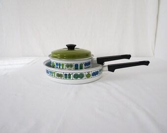 Vintage Enamel Sauce Pot and Skillet Set Blue Green 70s Kitchen