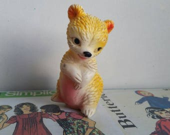 Vintage kitsch Sun Rubber 1957 squeaky toy bear squeak Nursery decor teddy bear