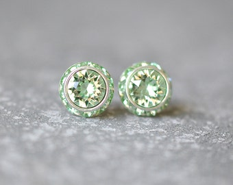 Mint Green Earrings, Mint Bridesmaids Jewelry, Bridesmaid, Wedding Jewelry, Swarovski Crystal Earrings, Clip On Earrings, Bride, Bridal Gift