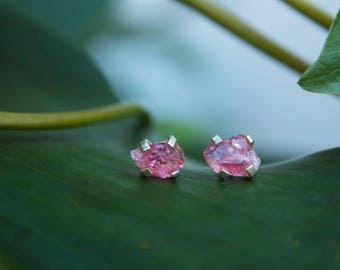 Raw Pink Tourmaline Stud Earrings in Sterling Silver Claw Setting