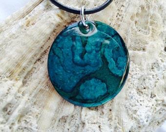 Alcohol Ink Blue & Aqua Necklace