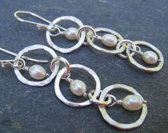 White Pearl Earrings, Hammered Silver Earrings, Long Silver Earrings, Bridal Earrings, silver drops, hammered silver hoops, SweetTaBou