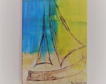 Sailing boat, nostalgic, acryil painting on canvas