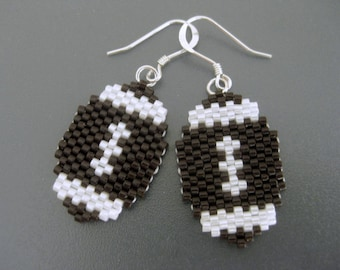 Football Earrings / Peyote Earrings / Beaded Earrings in Brown and White /  Seed Bead Earrings / Sterling Silver Earrings / Football Fan