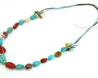 Long necklace turquoise and carnelian.