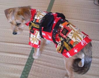 SALE: Dog Kimono with Obi in Red Kanji Print