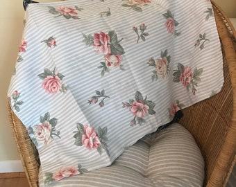 Striped/Floral Cotton Poly Pillow Case EUC