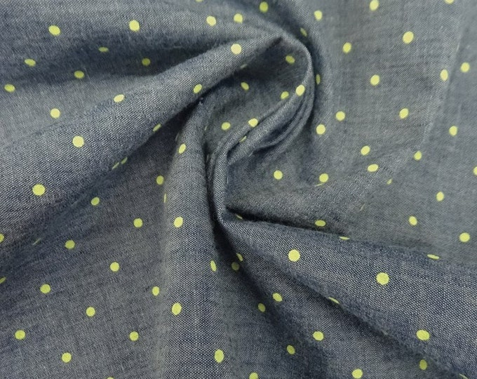 Polka Dot Chambray in Denim Blue & Lime - Cotton Chambray Fabric
