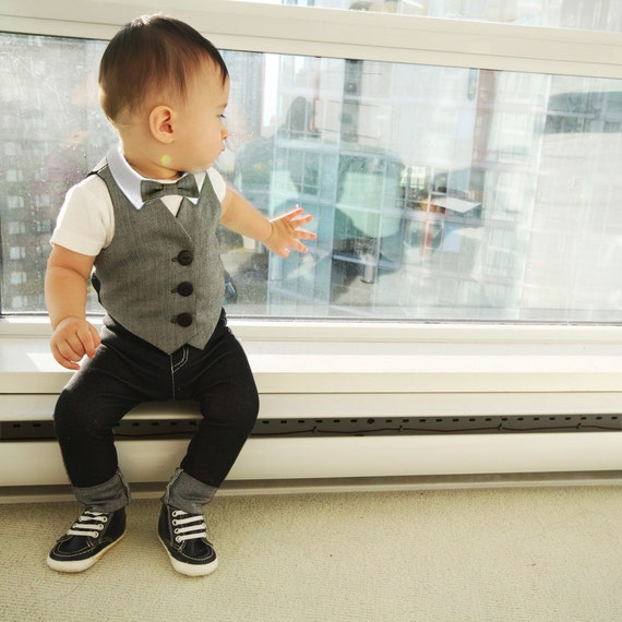 Grey Baby Ring Bearer Outfit Boys Wedding Suit Baby Wedding