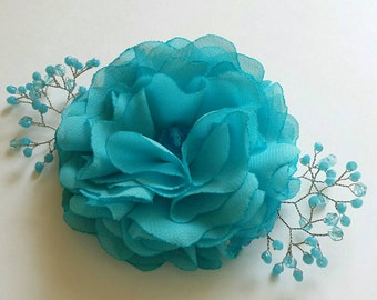 Turquoise hair clip Turquoise flower for hair Flower hair clip Bridal hair accessories Bridesmaids hair accessory
