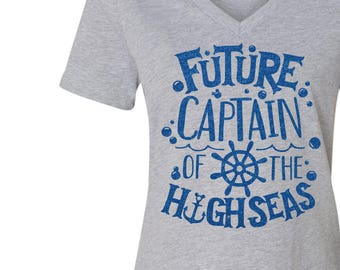 Future Captain Of The High Seas Glitter Shirt - Various Shirt Styles to Choose