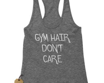 Gym Hair Don't Care Racerback Tank Top for Women