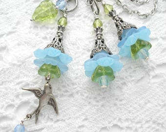 Garden Party Blue Flower Pendant and Earrings- Antiqued Silver Pendant and Earrings- Morning Glory Designs