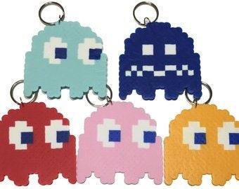 Perler Pac-Man Ghost Keychain
