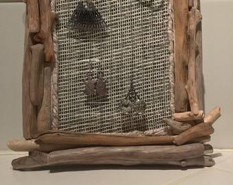 Frame display Driftwood for earrings, barrettes...
