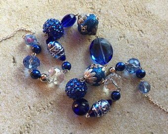 Blue Glass Statement Necklace, Beaded Necklace, Beadwork Necklace, Gifts for Her, Trending Item