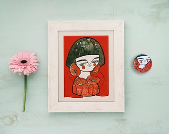 SET, Red poppies postcard and red geisha brooch