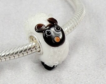 Sheep Large Hole Lampwork Glass Bead - 925 Sterling Silver European Bead Charm