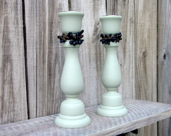Taper Holders, Light Green, Set of Two, Candle Sticks, Pair, Wooden Candle Holder, Navy Pip Berries, Home Decor, Primitive, Rustic Decor